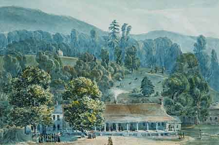 Dining Room and Stage Offices at White Sulphur Springs 1832 | John Hazelhurst Boneval Latrobe | Oil Painting