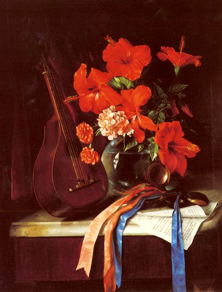 Still Life With Mandolin And Castagnets 1872 | Jose Maria Bracho y Murillo | Oil Painting