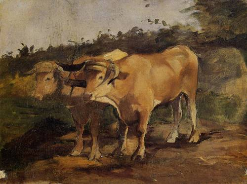 Two Bulls Wearing a Yoke 1881 | Henri Toulouse Lautrec | Oil Painting