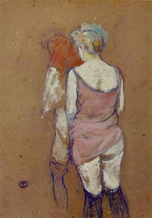 Two Half-Naked Women Seen from Behind in the Rue des Moulins Brothel 1894 | Henri Toulouse Lautrec | Oil Painting