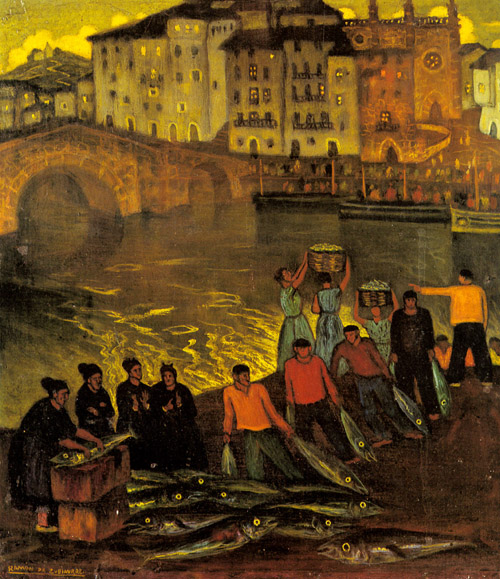 Fisherfolk in a Harbour Town   Eduardo Zamacois y Zabala   Oil Painting