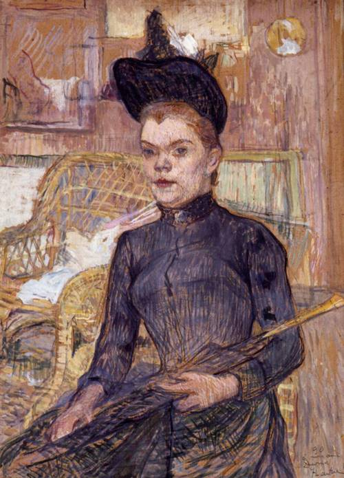 Woman in a Black Hat Berthe la Sourde 1890 | Henri Toulouse Lautrec | Oil Painting