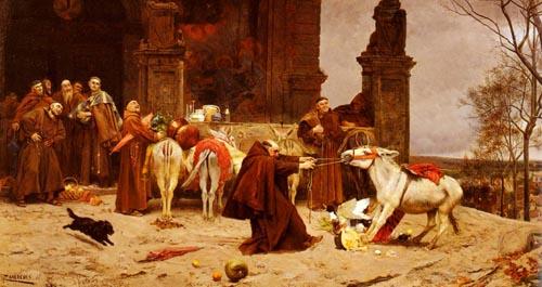 Taming The Donkey 1868   Eduardo Zamacois y Zabala   Oil Painting