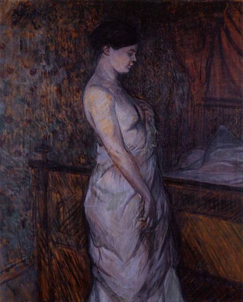 Woman in a Chemise Standing by a Bed (aka Madame Poupoule) 1899 | Henri Toulouse Lautrec | Oil Painting