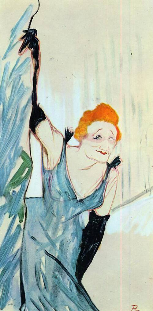 Yvette Guilbert Taking a Curtain Call 1894 | Henri Toulouse Lautrec | Oil Painting