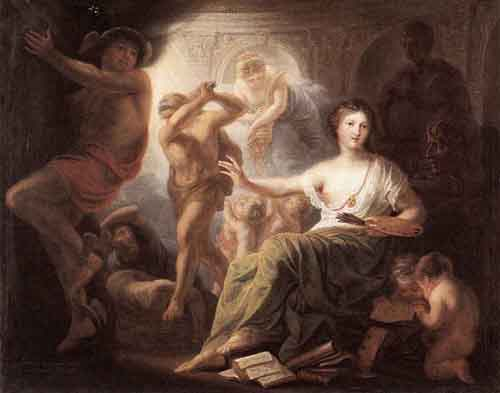 Hercules Protects Painting from Ignorance and Envy 1763   Andries Cornelis Lens   Oil Painting