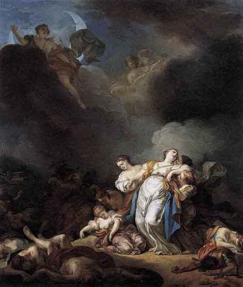 Apollo and Diana Attacking Niobe and her Children 1772 | Anicet Charles Gabriel Lemonnier | Oil Painting