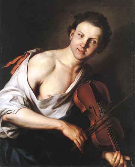 Young Man with a Violin 1690 | Jan Kupecky | Oil Painting