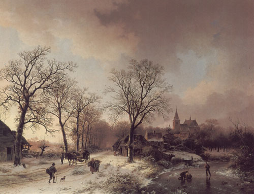 Figures in a Winter Landscape 1842 | Barend Cornelis Koekkoek | Oil Painting