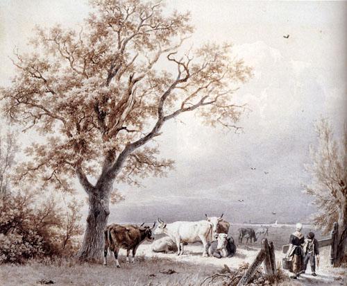 Cows In A Sunlit Meadow 1839 | Barend Cornelis Koekkoek | Oil Painting