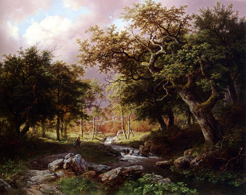 A Wooded Landscape With Figures Along A Stream 1846 | Barend Cornelis Koekkoek | Oil Painting