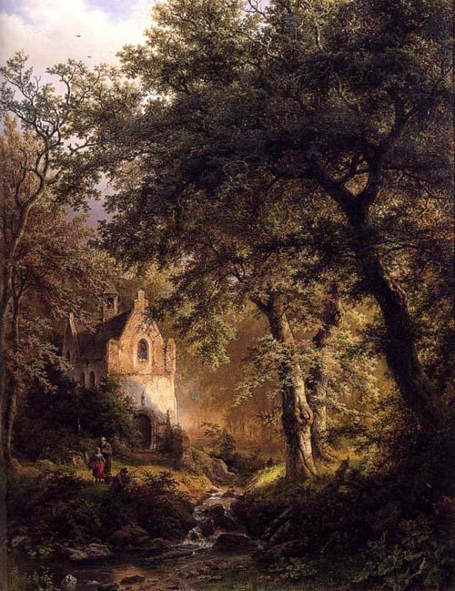 Boslandschap Met Kapel Sous Bois 1850 | Barend Cornelis Koekkoek | Oil Painting
