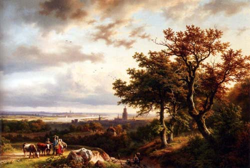 A Panoramic Rhenish Landscape With Peasants Conversing On A Track In The Morning Sun 1855 | Barend Cornelis Koekkoek | Oil Painting