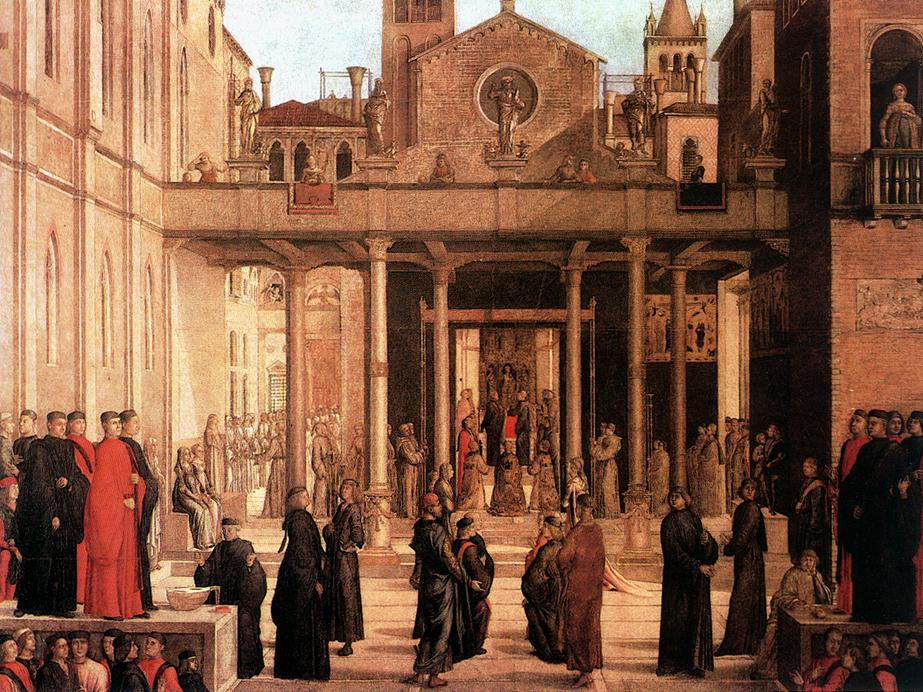 The Relic of the Holy Cross is Offered to the Scuola di S Giovanni Evangelista 1494 | Lazzaro Bastiani | Oil Painting