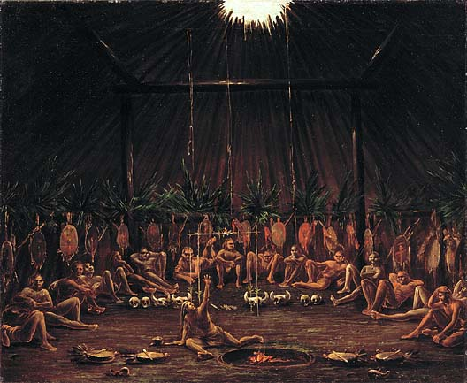 Interior View of the Medicine Lodge Mandan O kee pa Ceremony 1832 | George Catlin | Oil Painting