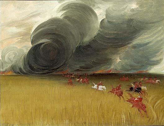 Prairie Meadows Burning 1832 | George Catlin | Oil Painting