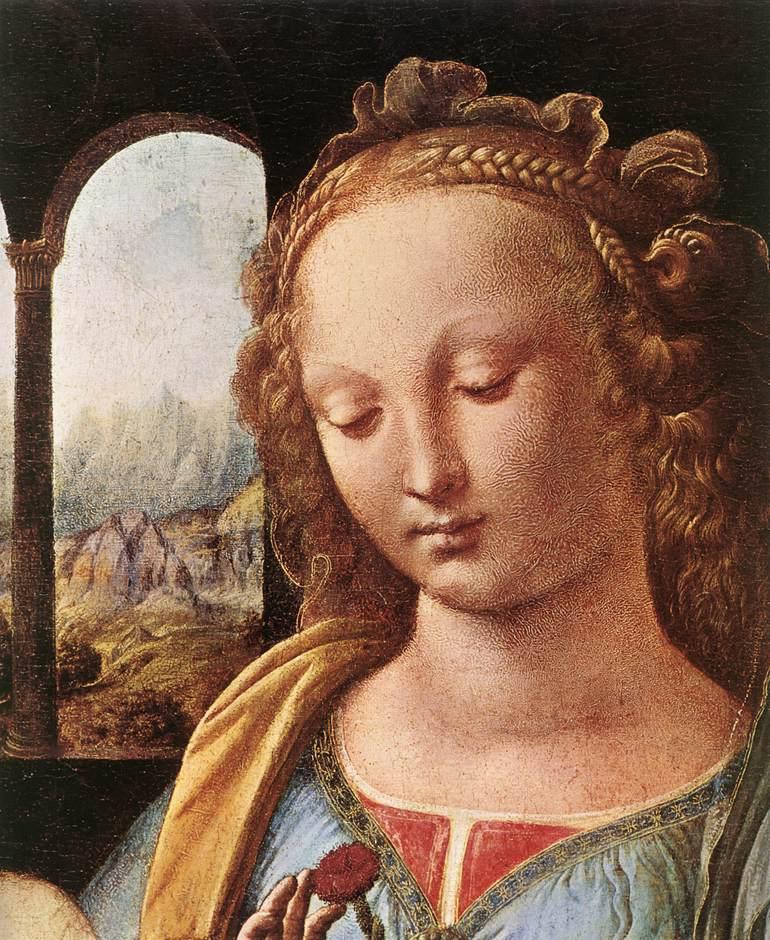The Madonna of the Carnation detail 1 | Leonardo Da Vinci | Oil Painting