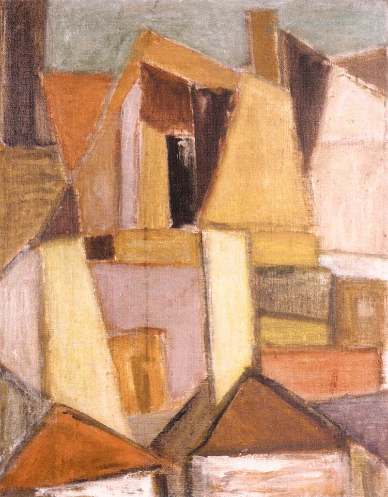 Roofs and Walls of Szentendre 1940s | Maria Modok | Oil Painting