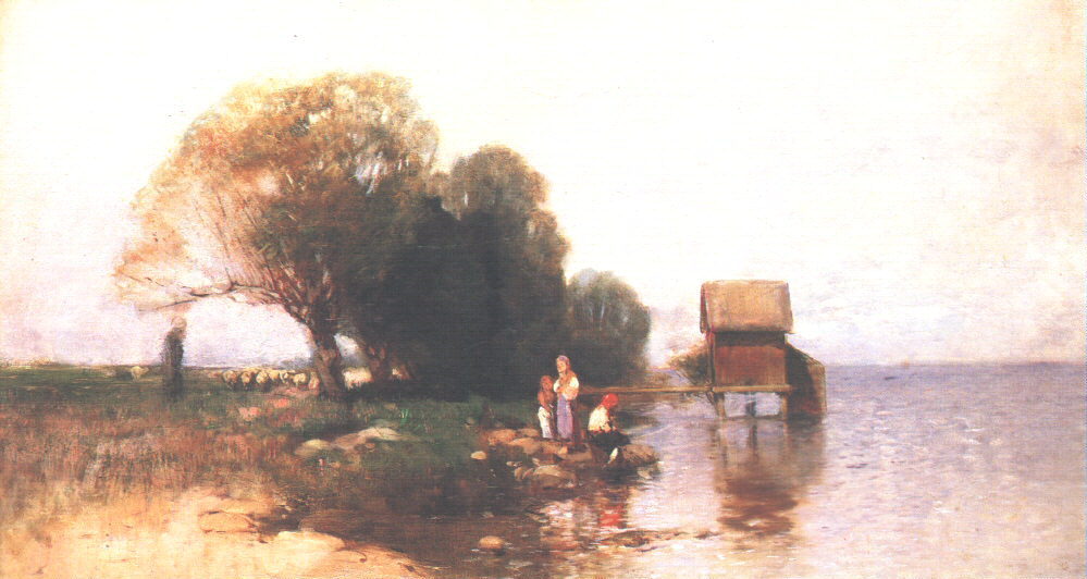 Bathing Cabin at Lake Balaton 1885 | Geza Meszoly | Oil Painting