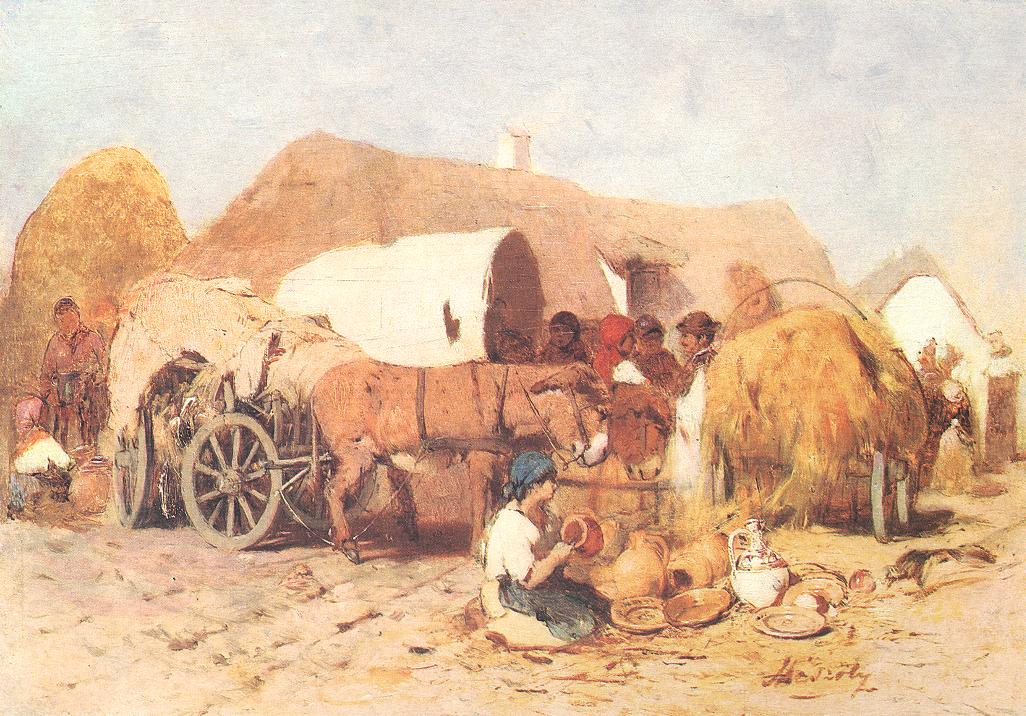 Pottery Fair 1875 | Geza Meszoly | Oil Painting