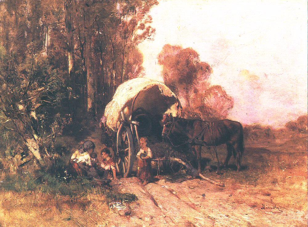 Poor Family Resting on their Travels 1881 | Geza Meszoly | Oil Painting