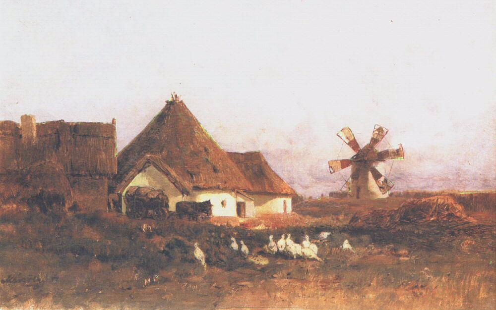 Landscape with Windmill (Detail of Szentivan) 1880 | Geza Meszoly | Oil Painting