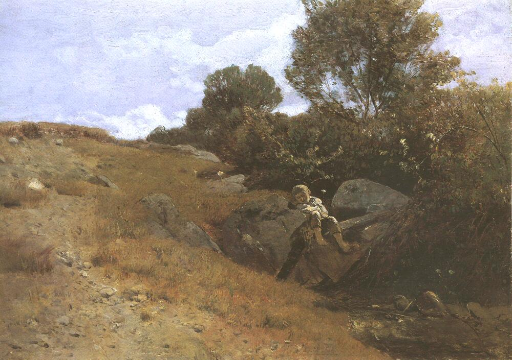 Landscape with Sleeping Boy 1870 75 | Geza Meszoly | Oil Painting
