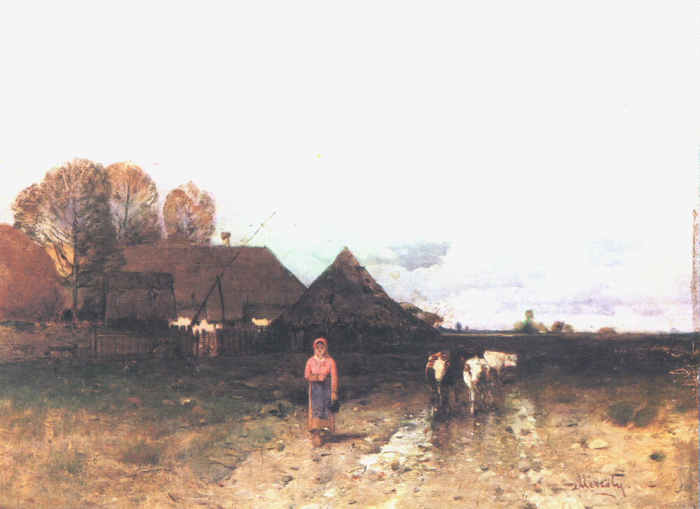 Landscape in Storm (Cows Coming Home) 1880 | Geza Meszoly | Oil Painting