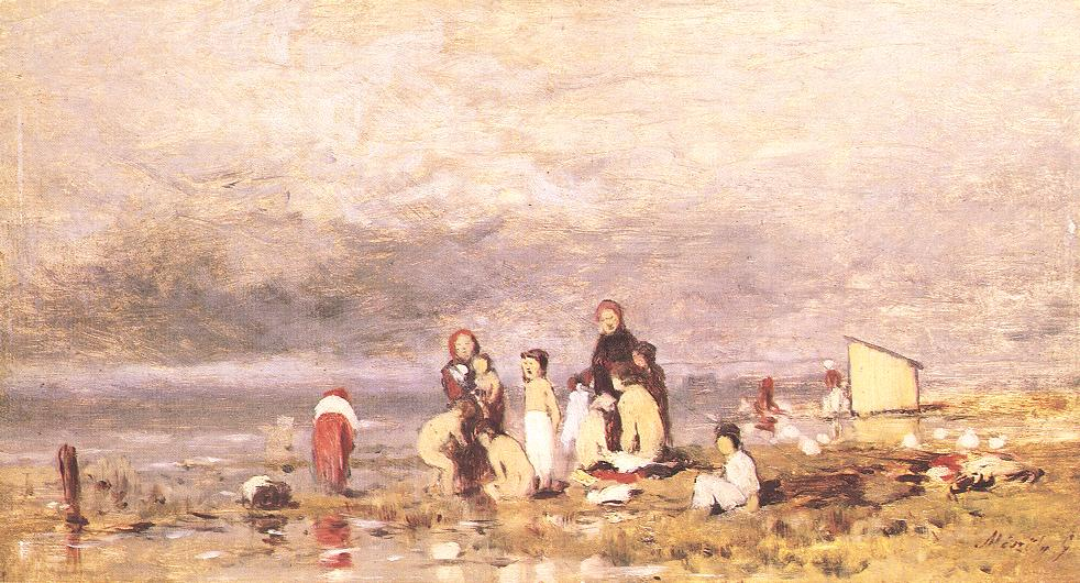 Lake Balaton with Bathing Peasant Children 1885 | Geza Meszoly | Oil Painting