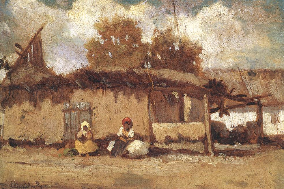 In Front of a Peasant House 1885 | Geza Meszoly | Oil Painting
