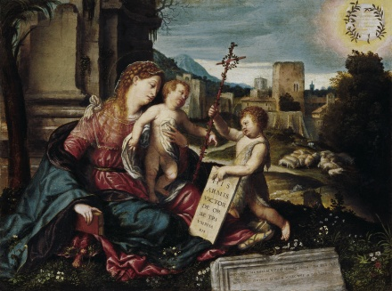 Madonna with Child and the Young St John c 1550 | Alessandro Bonvicino gen Il Moretto | Oil Painting