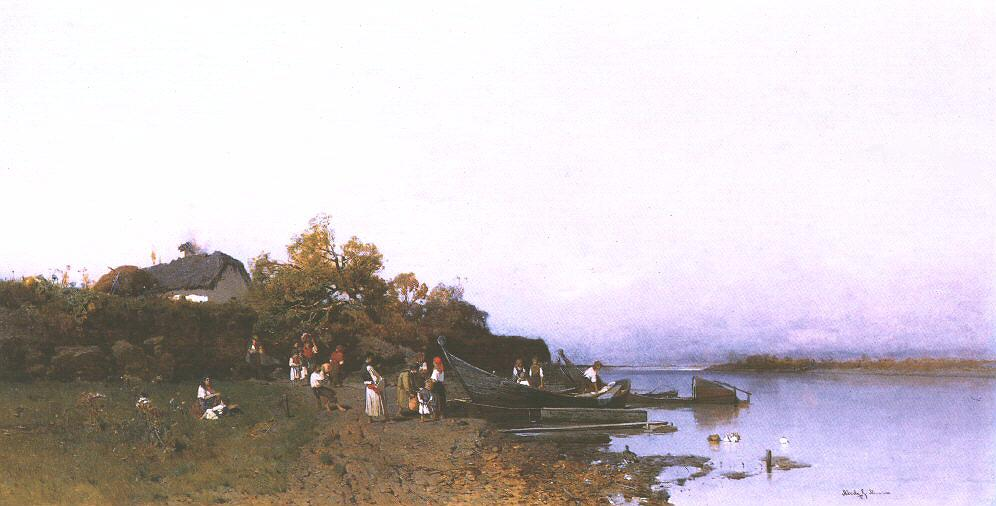 Fishermen's Ferry at the River Tisza 1872 77 | Geza Meszoly | Oil Painting