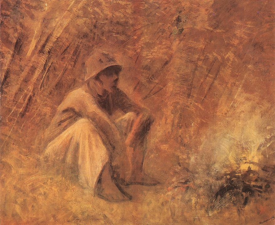 Peasant Resting by the Fire 1913   Laszio Mednyanszky   Oil Painting