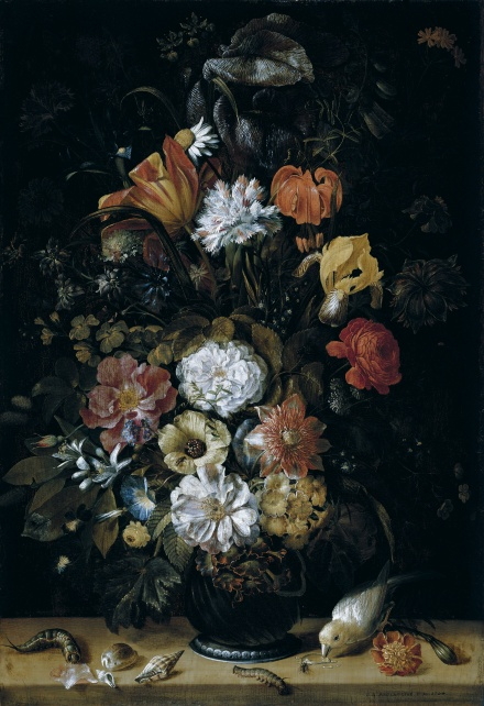 Bouquet of Flowers with Animals 1704 | Johann Adalbert Angermayer | Oil Painting