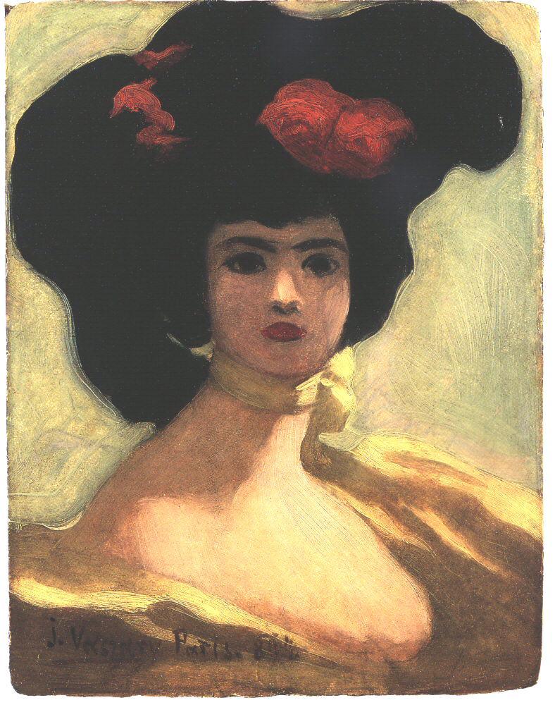 Woman of Black Hat 1894 | Janos Vaszary | Oil Painting