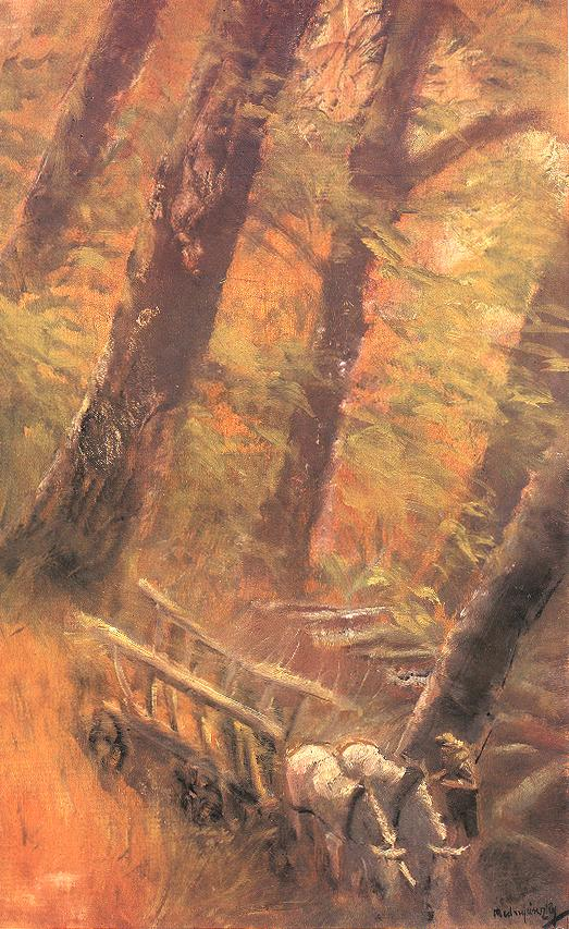 Horse and Cart in the Forest 1913 14   Laszio Mednyanszky   Oil Painting