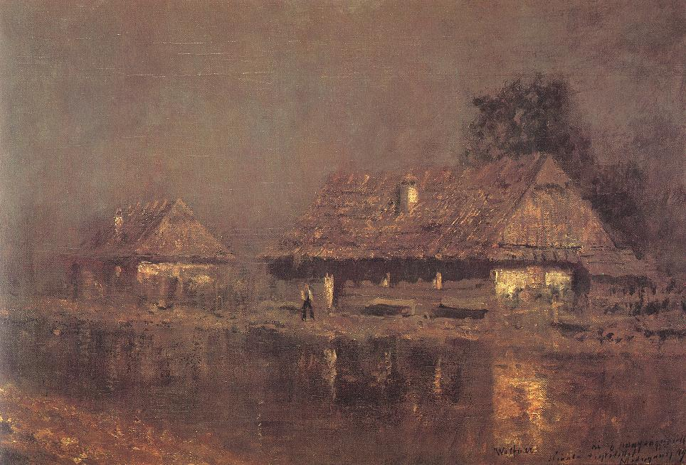 Houses by the River after 1898 | Laszio Mednyanszky | Oil Painting