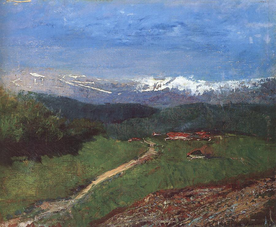 Landscape in the Alps (View from the Rax) 1900   Laszio Mednyanszky   Oil Painting