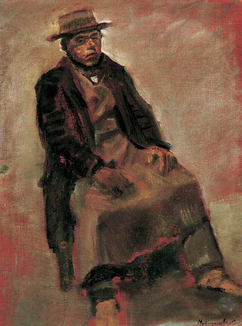 Man Seated Wearing Hat   Laszio Mednyanszky   Oil Painting