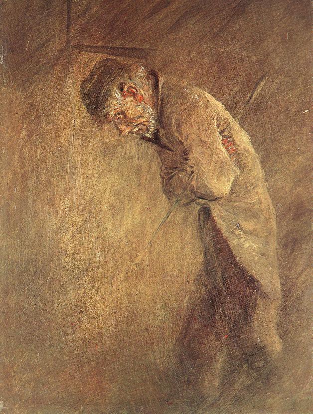 Old Tramp 1880s   Laszio Mednyanszky   Oil Painting