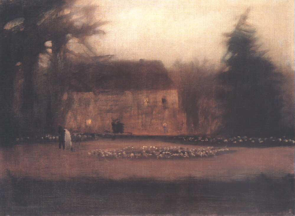 Park at Twilight 1911 15   Laszio Mednyanszky   Oil Painting