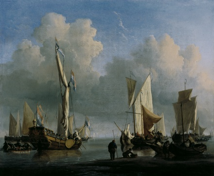 the Younger Velde Ships off the Coast 1672 | Willem van de Velde the Younger | Oil Painting