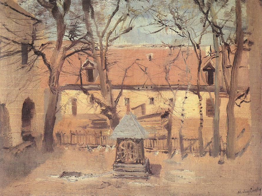 Part of a Courtyard with Well 1910   Laszio Mednyanszky   Oil Painting