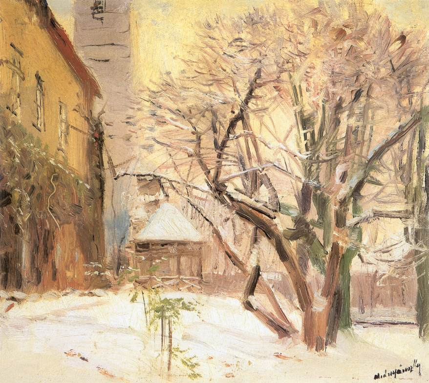 Courtyard in Winter after 1910 | Laszio Mednyanszky | Oil Painting