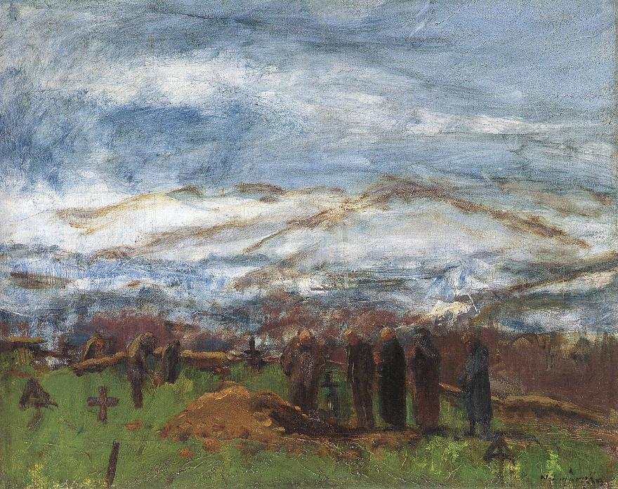 Burial in the Carpathian Mountains 1917 | Laszio Mednyanszky | Oil Painting