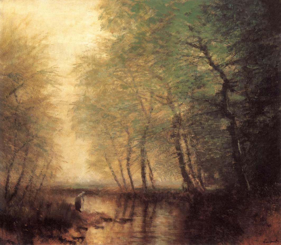 Waterside Scene with Figure | Laszio Mednyanszky | Oil Painting