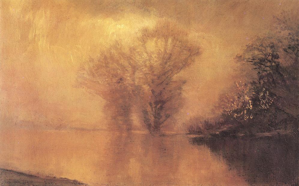 Waterside Scene in Luminescent Haze | Laszio Mednyanszky | Oil Painting