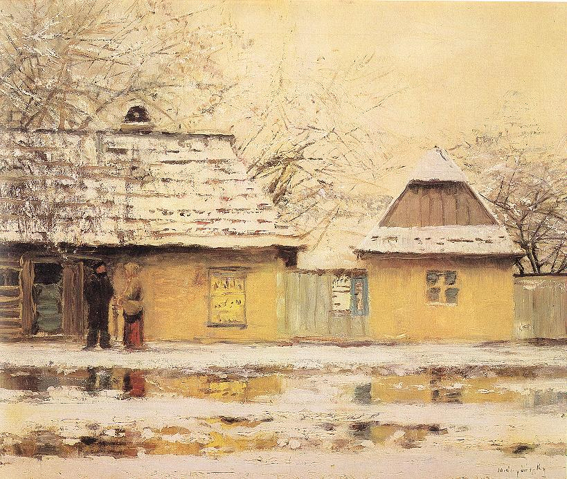 Village Street in Winter | Laszio Mednyanszky | Oil Painting