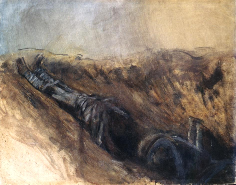 Trench with two Dead Soldiers | Laszio Mednyanszky | Oil Painting