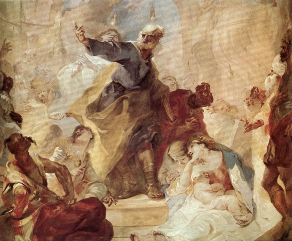 St Peter Preaching (detail) 1758   Anton Franz Maulbertsch   Oil Painting